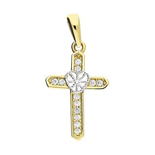 Krzyżyk złoty serce z cyrkoniami MZ T23-P-1313-YW-CZ próba 585