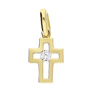 Krzyżyk złoty z cyrkonią w środku S3 KLY 0583 próba 585