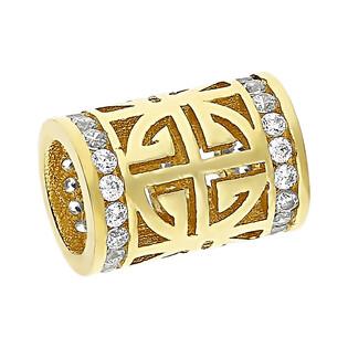 Zawieszka złota duży walec ażur z cyrkoniami LP 31U25-DCP0079-YW-CZ-PAN próba 375