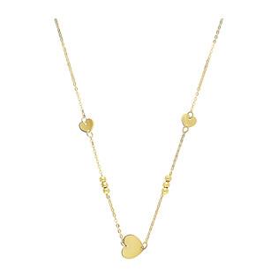 Naszyjnik złoty serca blask z kulkami BC63 próba 585