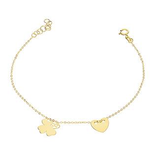 Bransoleta złota serce i koniczyna blask BC61 próba 585