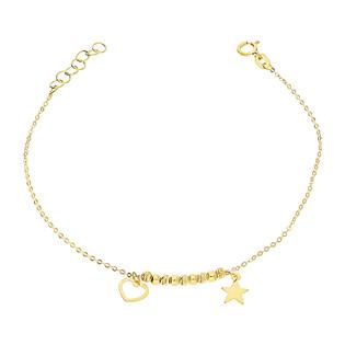 Bransoleta złota gwiazdka, puste serce i grawerowane kulki BC64 próba 585