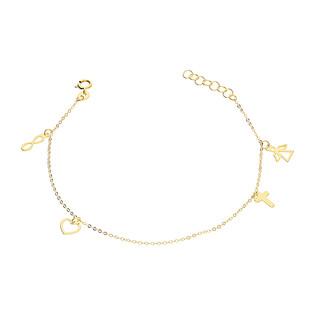 Bransoleta złota infinity, serce, krzyżyk i anioł/rolo BC65 próba 585