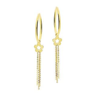 Kolczyki złote kółka szarniry 25mm z kwiatkiem i z łańcuszkami BC55-2 próba 585