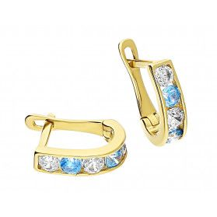 Kolczyki złote dla dziewczynki przecinki z niebieskimi i białymi cyrkoniami MZ T5-A3 próba 375