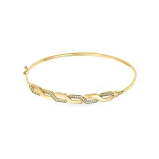 Bransoleta złota bangle przeplatanka z cyrkoniami PY BLZ0933 próba 375