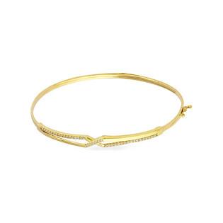 Bransoleta złota bangle X z cyrkoniami PY BLZ0990 próba 375