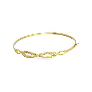 Bransoleta złota bangle infinity z cyrkoniami PY BLZ0983 próba 375