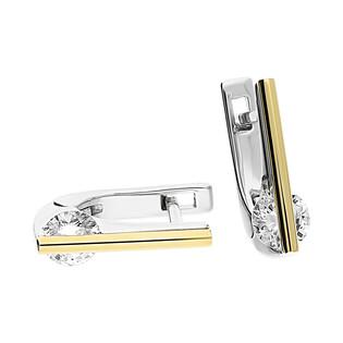 Kolczyki srebrne cyrkonia za złotą pałką PX 465_AU375 blaszka gold
