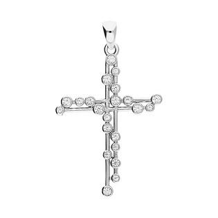 Krzyżyk z cyrkoniami ażurowa fala PX 985 próba 925