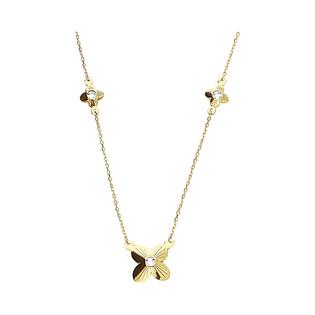 Naszyjnik złoty kwiatek grawerowany z cyrkoniami x3/anker MZ T42-E-8-LZ-CZ-T42-N-8-LZ-CZ próba 375