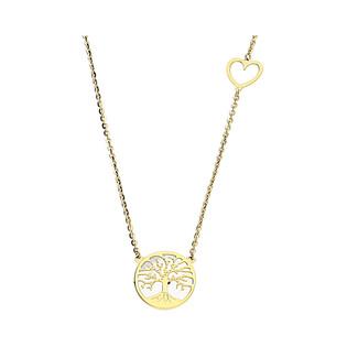 Naszyjnik złoty drzewko w kółku z masą perłową i serce OS 129-LP54-CL próba 585