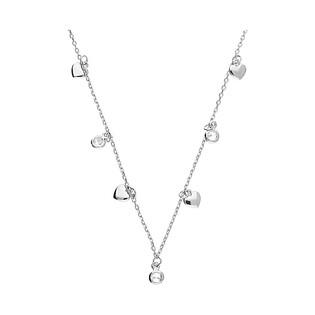 Naszyjnik srebrny wiszące gładkie serca i cyrkonie/anker PW 174-2 próba 925
