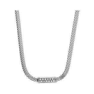 Naszyjnik srebrny prostokąt z cyrkoniami/wąż płaski PW 287 próba 925