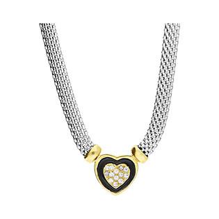 Naszyjnik serce gold z czarną emalią i cyrkoniami/wąż płaski PW 319 próba 925