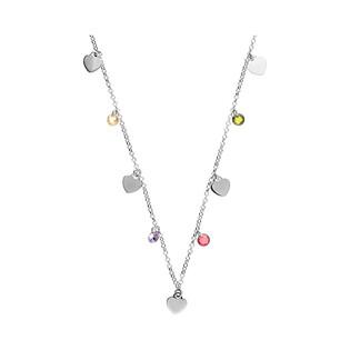 Naszyjnik srebrny gładkie serca i fasetowane cyrkonie/rolo RT CL24668CU rod próba 925