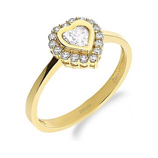 Pierścionek złote serce z białymi cyrkoniami S3 SYS-26 próba 585