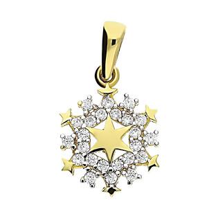Zawieszka złota gwiazdka blask z cyrkoniami wkoło MZ T23-P-1074-YW-CZ próba 585