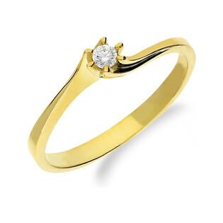 Pierścionek złoty cyrkonia w 6 łapkach twist soliter NB 50801 próba 585
