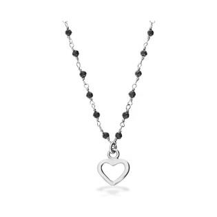 Naszyjnik srebrny z sercem i czarnymi kuleczkami LO CGSW0003 ROD próba 925