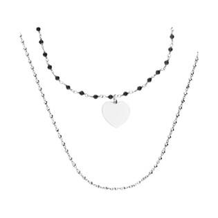 Naszyjnik srebrny z sercem i czarnymi kuleczkami LO CGSW0008 ROD próba 925