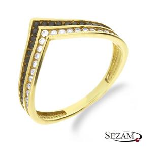 Pierścionek złoty z białymi i czarnymi cyrkoniami w szpic MZ T5-R-308-CZ próba 375
