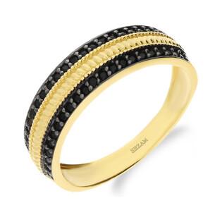 Pierścionek złoty obrączkowy z cyrkoniami NB 501784 próba 375