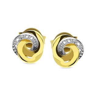 Kolczyki złote z diamentami obwarzanek nr BU 330467 Sezam - 1