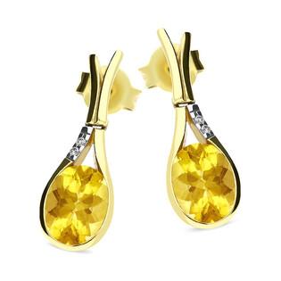 Kolczyki złote z cytrynem i diamentami nr BU 761364