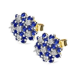 Kolczyki złote z diamentami i szafirem BRIDELL/sztyf nr DI 507-1 SA próba 585