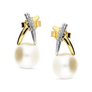 Kolczyki złote z perłą i diamentami nr KU 2883-3048 próba 585