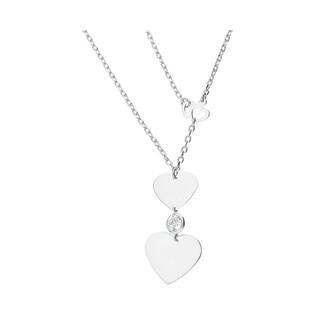 Naszyjnik srebrny serca z cyrkonią w oprawie/anker AT-244-K próba 925