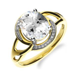 Pierścionek zaręczynowy z topazem white i diamentami nr RO C4350-WTD próba 585