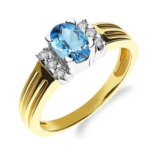 Pierścionek zaręczynowy z topazem blue i diamentami RQ 109M-BT owal próba 585 Sezam - 1