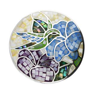 Zawieszka kółko koliber i kwiaty z masą perłową NJ26 1610414.1 próba 925