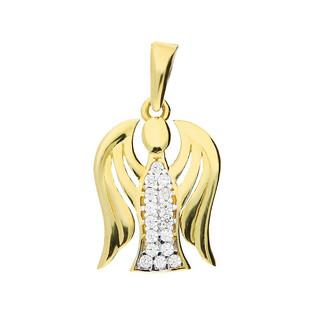 Medalik złoty anioł z cyrkoniami MZ T23-P-1130-YW-CZ próba 375