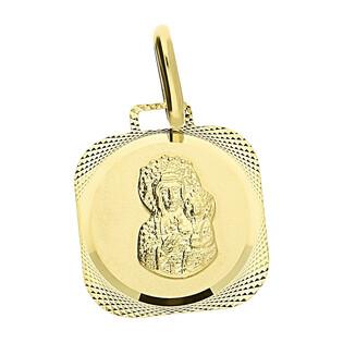 Medalik złoty Częstochowska w obłym prostokącie CB M-0830 próba 333