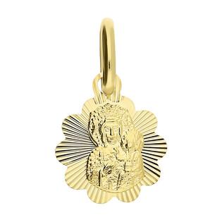 Medalik złoty Częstochowska w grawerowanym kwiatku CB M-0834 próba 585