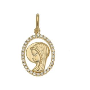 Medalik złoty z Matką Boską w owalu MZ T23-P-1253-YW-CZ próba 585