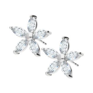 Kolczyki srebrne kwiatek z białymi cyrkoniami/sztyft A6 08171731-00 próba 925