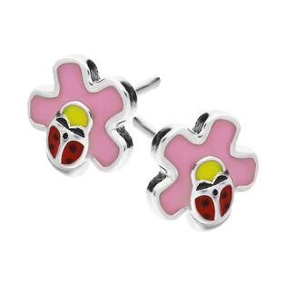 Kolczyki dziecięce kwiat z różową emalią i biedronką/sztyft HS1037 próba 925