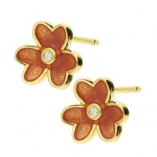 Kolczyki pozłacane kwiat z pomarańczową emalią/sztyft HS1066 GOLD próba 925