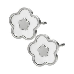 Kolczyki srebrne kwiatek z białą masą perłową/sztyft TA ORT7486 próba 925