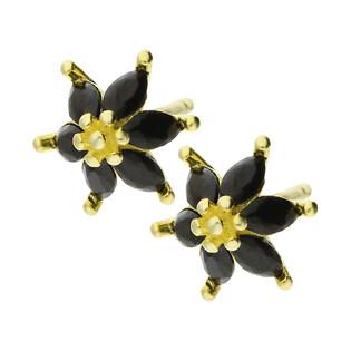 Kolczyki pozłacane kwiatek z łezkami z czarnych cyrkonii/sztyft TB 11088 GOLD próba 925