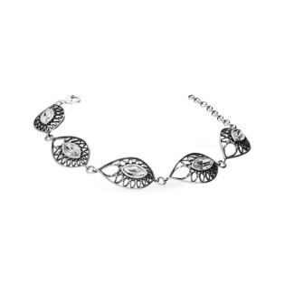 Bransoleta srebrna krople ażurowe z cyrkonią nr SZ SZ070 Sezam - 1