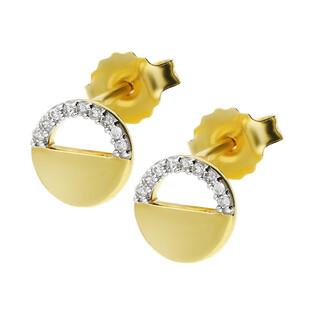 Kolczyki złote kółko ramka z diamentami/sztyft KU 2146 próba 585
