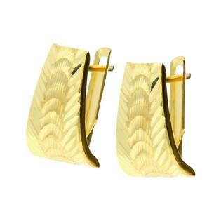 Kolczyki złote blaszka jodełka grawerowana PY MKE0159 próba 375