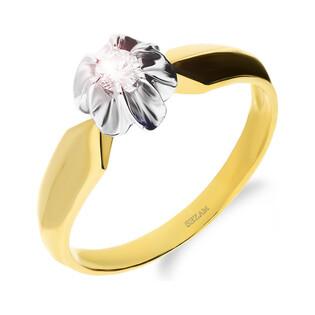 Pierścionek zaręczynowy FLOWER z diamentem DI 213-05-0,12 próba 585