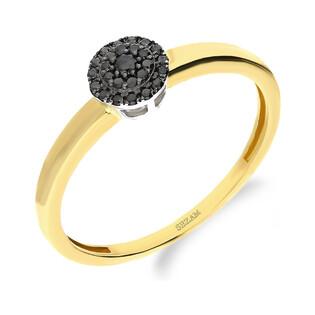 Pierścionek zaręczynowy BRIDELL z czarnymi diamentami DI 318-05-bd próba 585