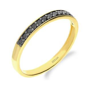 Pierścionek z czarnymi diamentami DI 469-05-bd próba 585